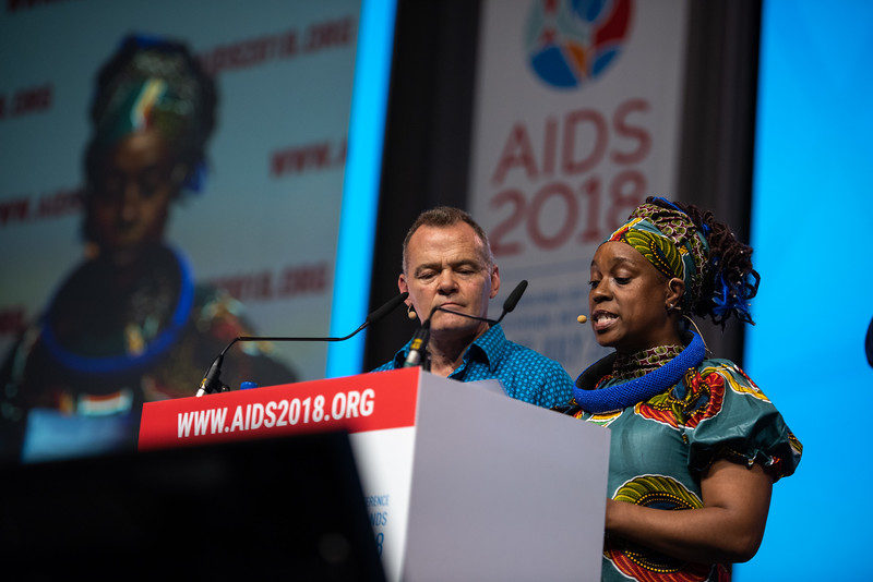 22nd International AIDS Conference (AIDS 2018) Amsterdam, Netherlands.   Copyright: Steve Forrest/Workers' Photos/ IAS  Photo shows: Special Session: The legacy of Prudence Mabele: Championing gender justice and health equity. Presentation of the Prudence Mabele Prize by Shaun Mellors, International HIV/AIDS Alliance, United Kingdom and Yvette Raphael, APHA, South Africa.