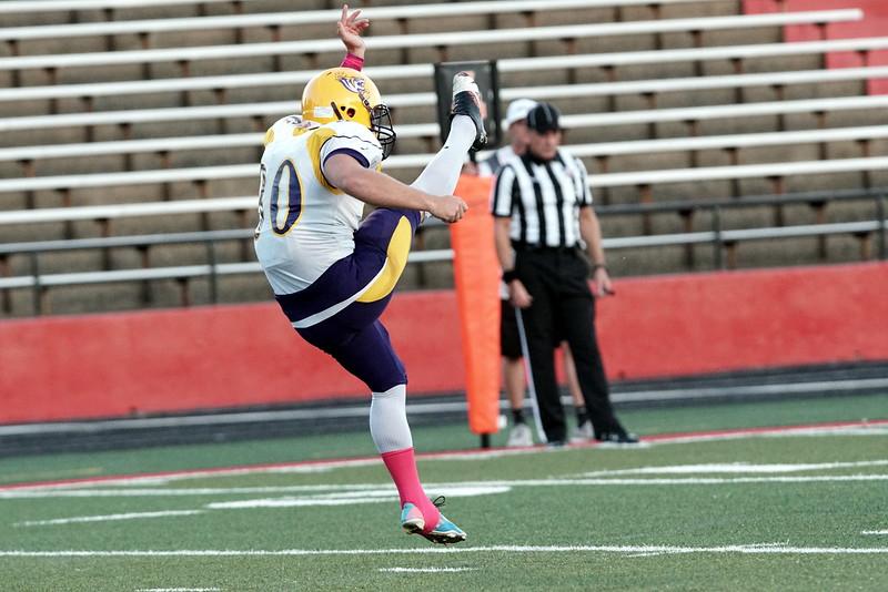 Benedict kicks a field goal. -Taken by Ashley Falls