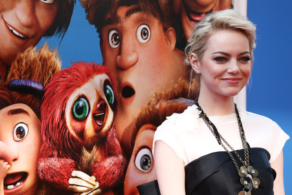 """. Actress Emma Stone attends \""""The Croods\"""" premiere at AMC Loews Lincoln Square 13 theater on March 10, 2013 in New York City.  (Photo by Neilson Barnard/Getty Images)"""