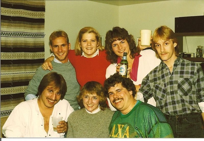 The 1983 / 1984 Kelly Hall 8th & 9th floor crew:  JC, Penny, Fauster, Stefano, Curveball, Lydia & Anthony.