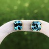 8.41ctw Blue Zircon Asscher Cut Bezel Earrings 19