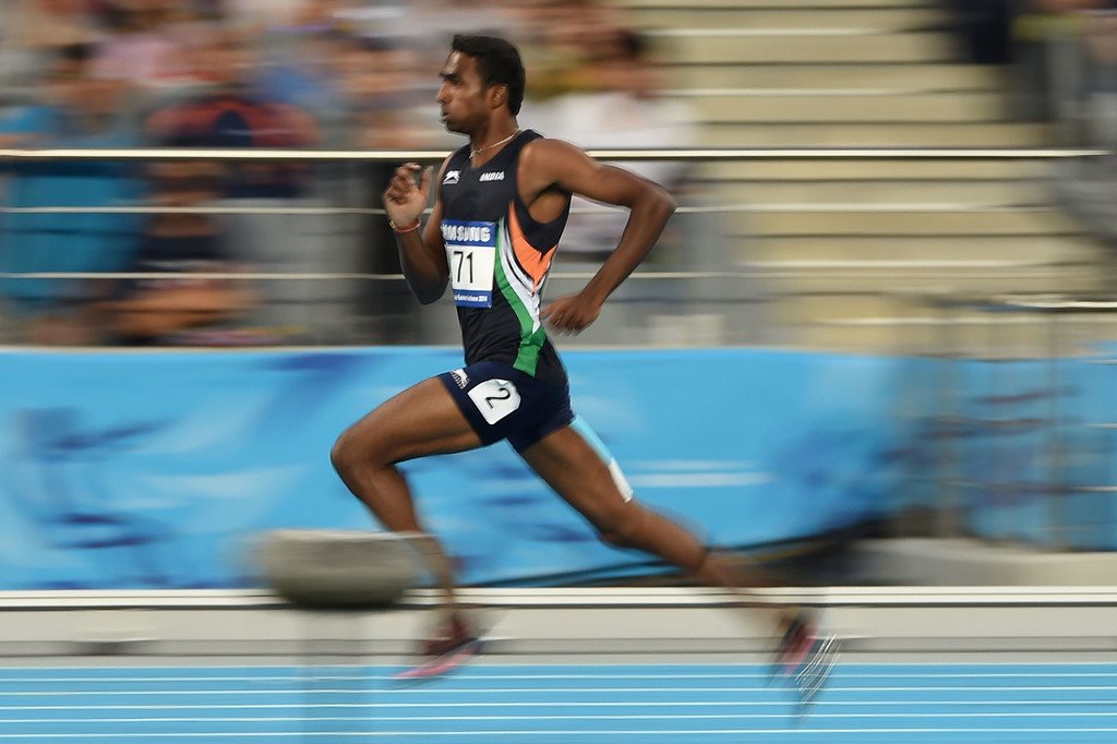 . India\'s Arokiarajiv competes in the heats of the men\'s 400m athletics event during the 17th Asian Games at the Incheon Asiad Main Stadium in Incheon on September 27, 2014.   PHILIPPE LOPEZ/AFP/Getty Images