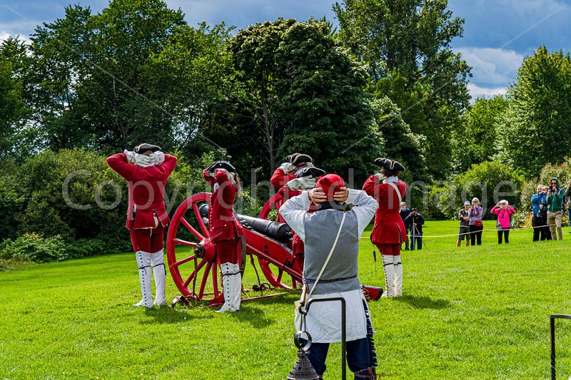 An artillery demonstration in a park
