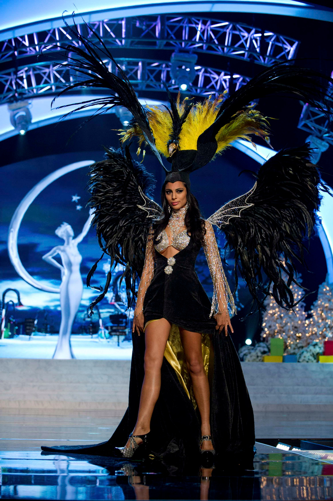 Description of . Miss Argentina Camilla Solorzano performs onstage at the 2012 Miss Universe National Costume Show at PH Live in Las Vegas, Nevada December 14, 2012. The 89 Miss Universe Contestants will compete for the Diamond Nexus Crown on December 19, 2012. REUTERS/Darren Decker/Miss Universe Organization/Handout