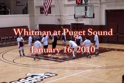 Whitman College, Walla Walla, Washington at University of Puget Sound, Tacoma, Washington, January 16, 2010.