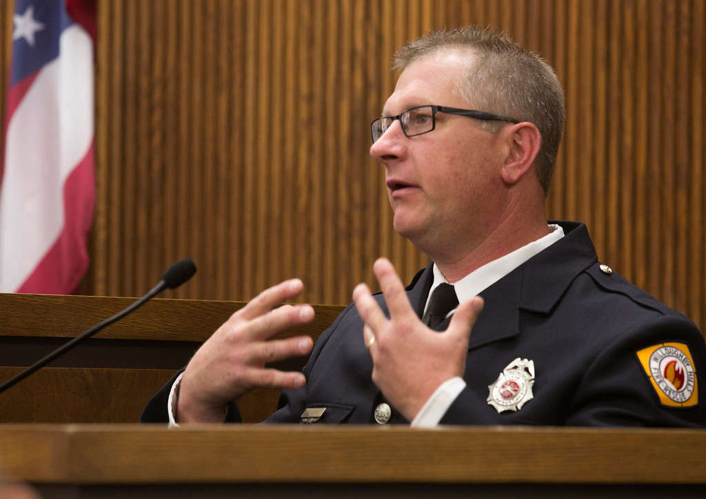 . Michael Allen Blair/MBlair@News-Herald.com Willoughby Hills fire fighter paramedic Steve Lucic testifies on the condition of murder victim Lisa Knoefel on the night of her murder in November of 2012. Lucic took the stand during day two of Kevin Knoefel\'s murder conspiracy trial in Lake County Common Pleas Court on  June 3, 2014.