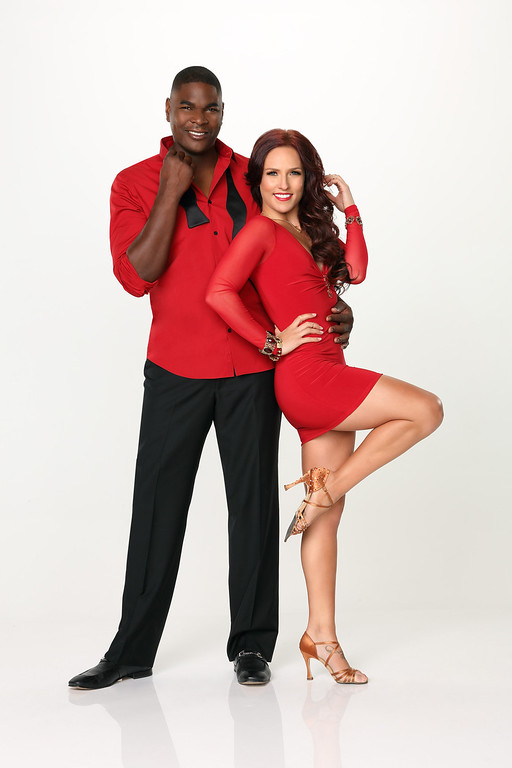 """. DANCING WITH THE STARS - KEYSHAWN JOHNSON & SHARNA BURGESS - Keyshawn Johnson partners with Sharna Burgess. \""""Dancing with the Stars\"""" returns for Season 17 on MONDAY, SEPTEMBER 16 (8:00-10:01 p.m., ET), on the ABC Television Network. (ABC/Craig Sjodin)"""