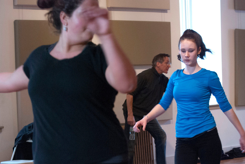 . Kayla Rice/Reformer                                 Dancers (from left) Tasha Warshaw, 18, and Zoe Flagollet, 16, from IBIT (Intrinsic Beauty of Invisible Things) rehearse at their Elliot St. studio in Brattleboro on Tuesday afternoon.