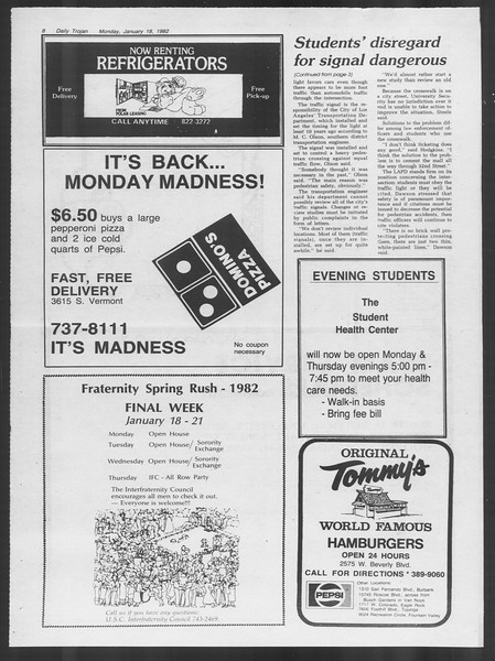 Daily Trojan, Vol. 91, No. 5, January 18, 1982