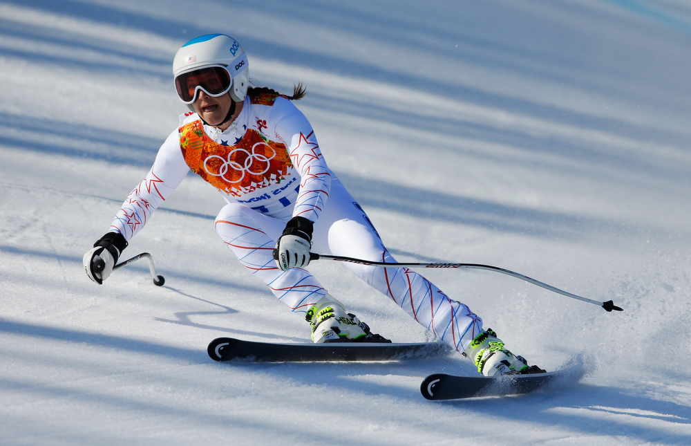. Julia Mancuso of the United States in action during the Alpine Skiing Women\'s Super-G on day 8 of the Sochi 2014 Winter Olympics at Rosa Khutor Alpine Center on February 15, 2014 in Sochi, Russia.  (Photo by Ezra Shaw/Getty Images)