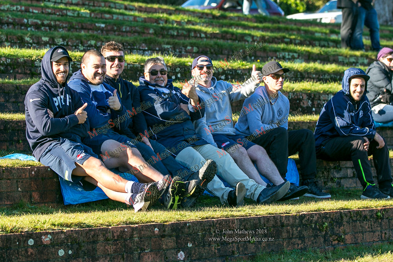 Petone supporters at the Wellington Premier reserve rugby union match (Harper Lock Shield) between Old Boys University RFC (white) and Petone RFC (blue) at Nairnville Park, Wellington, New Zealand on 2 June 2018.    SCORE : Petone 17; OBU 24 Copyright John Mathews 2018 http://www.megasportmedia.co.nz