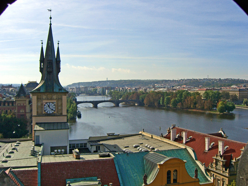 The Moldau looking south from Charles Bridge, East Tower.