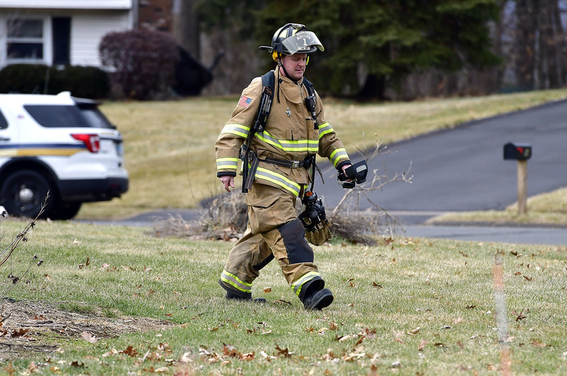 1/31/2020 Mike Orazzi | Staff Plainville firefighters on scene after a power surge caused electrical problems in several home in the Pequot Road section on Friday afternoon.
