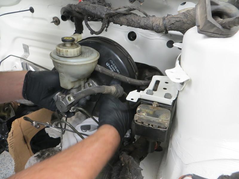 Installing brake booster and master cylinder