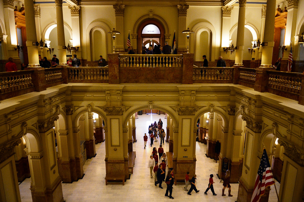 . DENVER, CO. - MARCH 08: Students from Crown Point Academy tour the Denver State Capitol as Senators listen to arguments before voting on the gun measures on the floor. March 08, 2013 Denver, Colorado. (Photo By Joe Amon/The Denver Post)