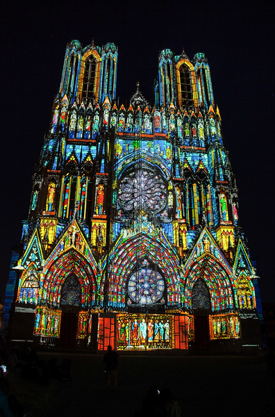 Projection onto the front facade of the Notre-Dame de Reims Cathedral, Reims, France.