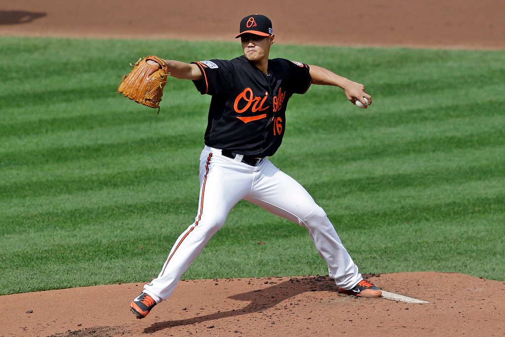 . Baltimore Orioles starting pitcher Wei-Yin Chen, of Taiwan, throws to the Detroit Tigers in the second inning of Game 2 in baseball\'s AL Division Series in Baltimore, Friday, Oct. 3, 2014. (AP Photo/Patrick Semansky)