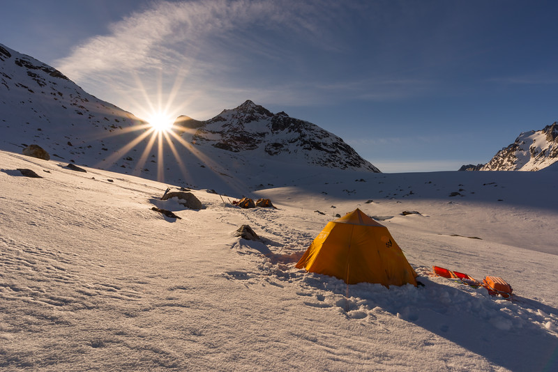 Sunrise over the mess tent, Tasiilap, East Greenland
