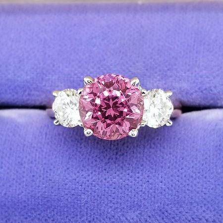 Purple-Pink Spinel and CBI Diamond Three Stone Ring