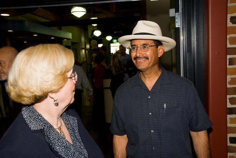 Photos from Community Open House and Ribbon Cutting for 210 4-03-2008.Visalia Mayor Jesus Gamboa with Mary Line.
