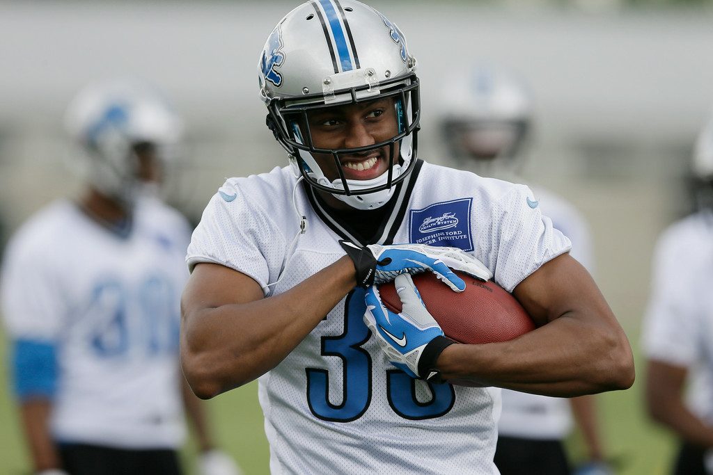 . Detroit Lions safety cornerback Chris Greenwood runs through a drill during an NFL football minicamp in Allen Park, Mich., Wednesday, June 11, 2014. (AP Photo/Carlos Osorio)