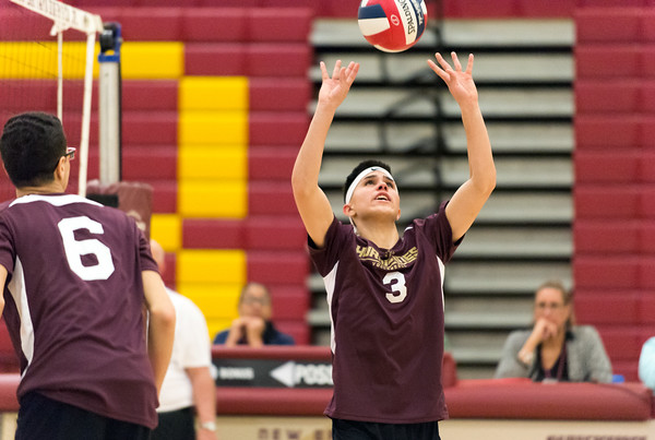 04/03/19 Wesley Bunnell | Staff New Britain boys volleyball was defeated at home by Bloomfield on Wednesday evening. Giovany Hernandez (3).
