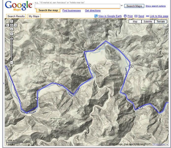Closer view of the Cache La Poudre Scenic Byway on Google Maps.