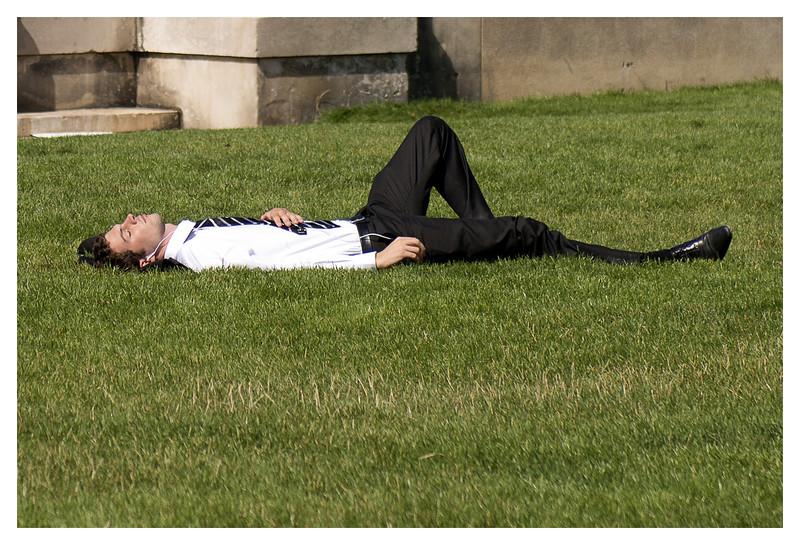Businessman taking a break?