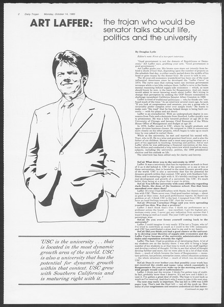 Daily Trojan, Vol. 100, No. 30, October 14, 1985