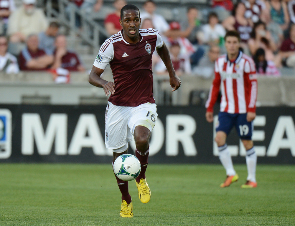 . COMMERCE CITY, CO. - MAY 25: Atiba Harris of Colorado Rapids (16) is in action in the 1st half of the game against Chivas USA at Dick\'s Sporting Goods Park. Commerce City, Colorado. May 25, 2013. (Photo By Hyoung Chang/The Denver Post)