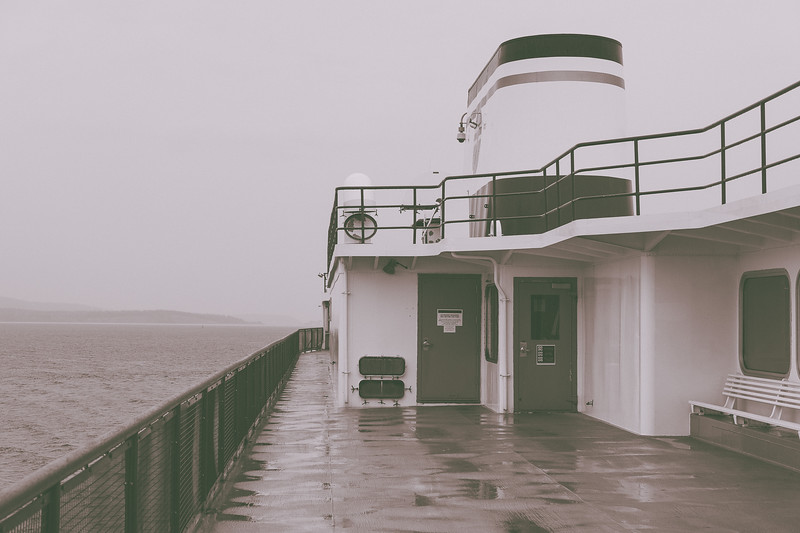 A foggy morning view aboard the Anacortes ferry bound for Lopez Island.