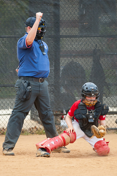 Christopher catches strike three on the 2nd batter in the bottom of the 6th inning. The Nationals started out their season with a 4-1 win over the Pirates. 2012 Arlington Little League Baseball, Majors Division. Nationals vs Pirates (14 Apr 2012) (Image taken by Patrick R. Kane on 14 Apr 2012 with Canon EOS-1D Mark III at ISO 400, f2.8, 1/1000 sec and 200mm)