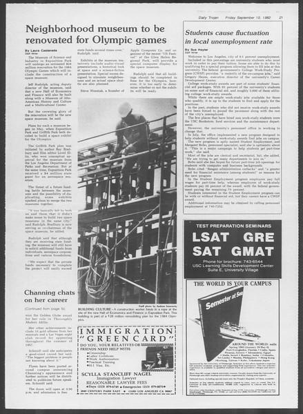 Daily Trojan, Vol. 92, No. 4, September 10, 1982