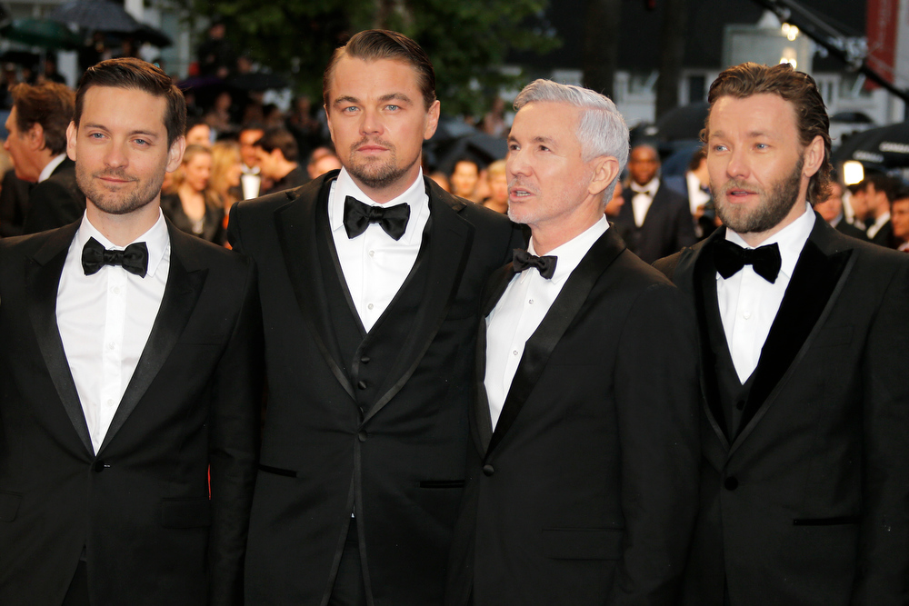 . From left, actors Tobey Maguire, Leonardo DiCaprio, director Baz Luhrmann and actor Joel Edgerton arrive for the opening ceremony and the screening of The Great Gatsby at the 66th international film festival, in Cannes, southern France, Wednesday, May 15, 2013. (AP Photo/Lionel Cironneau)