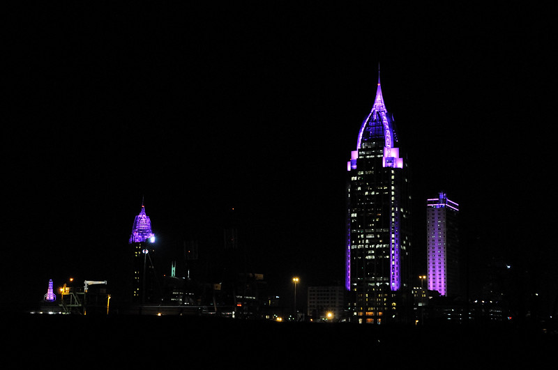 As I came through Mobile, the Convention Center, Adam's Mark, RSA Tower, and BankTrust buildings were lit up and ready for Mardi Gras.  It comes early this year (February 19).  The lights on all the buildings went from purple to green to yellow, constantly changing, like time, never standing still.  Have a blessed New Year.  Goodbye 2012, Hello 2013.