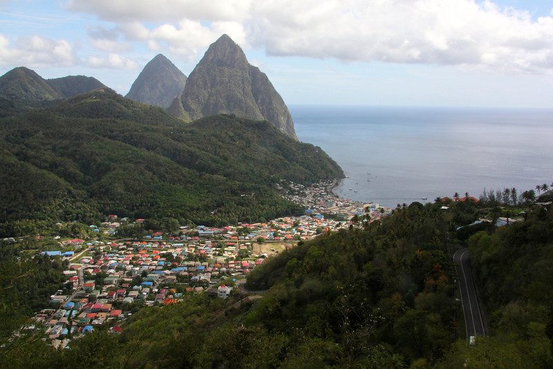Overlooking the town of Soufriere, St. Lucia