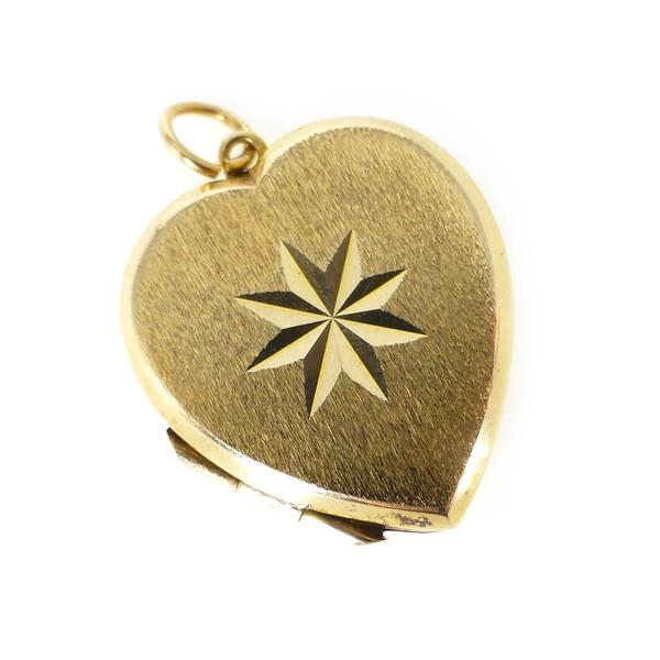 Vintage Mid Century Gold Back & Front Heart Shaped Star Locket