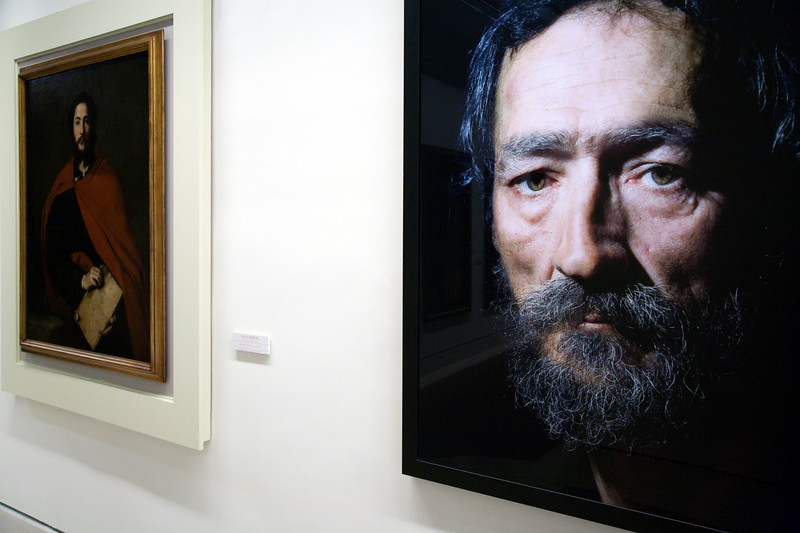 A photograph by Pierre Gonnord (right) beside a classical painting by Jose Ribera (Saint James, 17th century), Fine Arts Museum, Seville, Spain