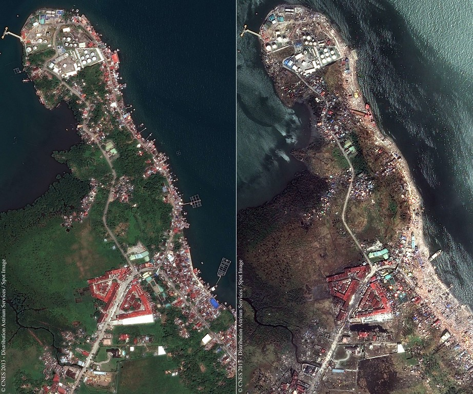. This combination of handout satellite photos obtained from Astrium Services on November 14, 2013, shows a view of part of the city of Tacloban in the Philippines on March 7, 2013 (L) juxtaposed with a view of the same area taken on November 13, 2013, after the passage of typhoon Haiyan. The United Nations estimates 10,000 people may have died in Tacloban alone, where five-meter (16-foot) waves flattened nearly everything in their path as they swept hundreds of meters across the low-lying land during the passage of typhoon Haiyan.  AFP PHOTO / CNES / ASTRIUM SERVICES / SPOT IMAGE/AFP/Getty Images