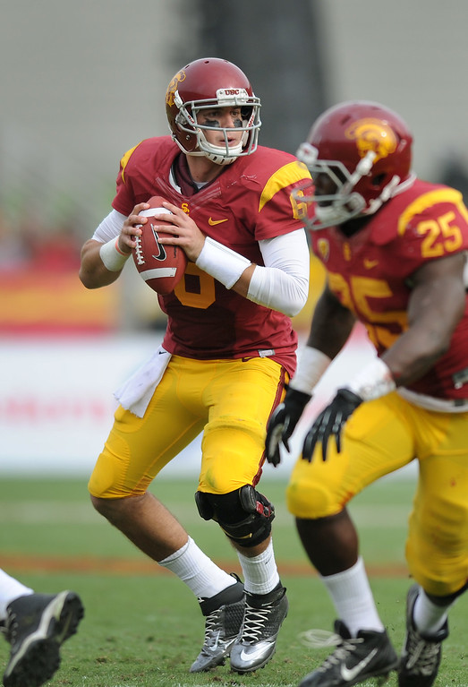 . USC QB Cody Kessler looks to pass against Utah in the third-quarter, Saturday, October 26, 2013, at the L.A. Memorial Coliseum. (Michael Owen Baker/L.A. Daily News)