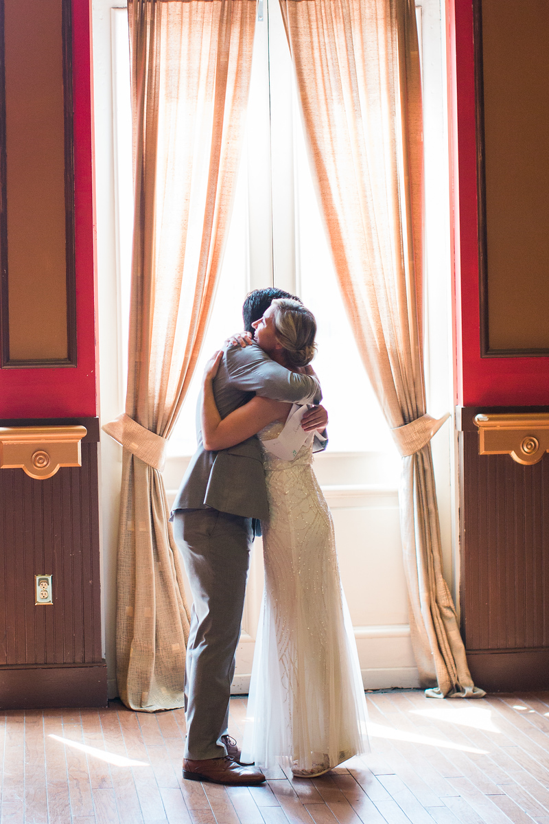 Matt and Whitney's first look at their 1840s Plaza wedding in Baltimore, MD. The Baltimore wedding photographer was Jalapeno Photography. For more images see http://www.jalapenophotography.com