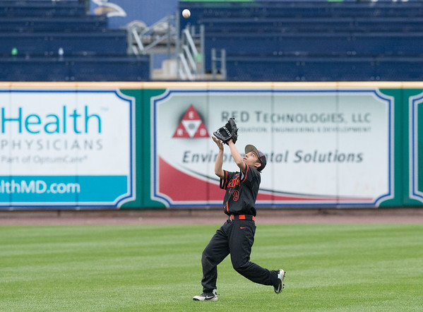 05/01/19 Wesley Bunnell | Staff Goodwin Tech baseball was defeated by Prince Tech on Wednesday evening at Dunkin Donuts Park in Hartford. Centerfielder Dibrayan Cortez (9) with his second putout of the inning.