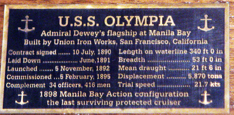 Plaque with U.S.S. Olympia statistics