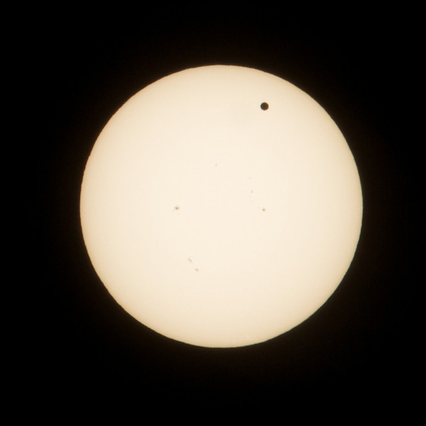 Venus passing in front of the sun - June 5th, 2012.   I was surprised I could pull the sun into range with an 8-stop ND filter, f/29, and 1/8000th of a second. But there it is!