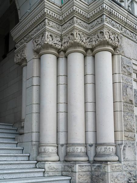 Architectural details at the entrance of Victoria Legislature Building, Victoria, British Columbia, Canada