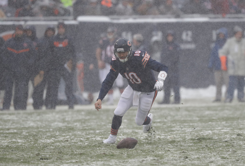. Chicago Bears quarterback Mitchell Trubisky (10) tracks down a loose ball against the Cleveland Browns during an NFL football game in Chicago, Sunday, Dec. 24, 2017. (AP Photo/Charles Rex Arbogast)