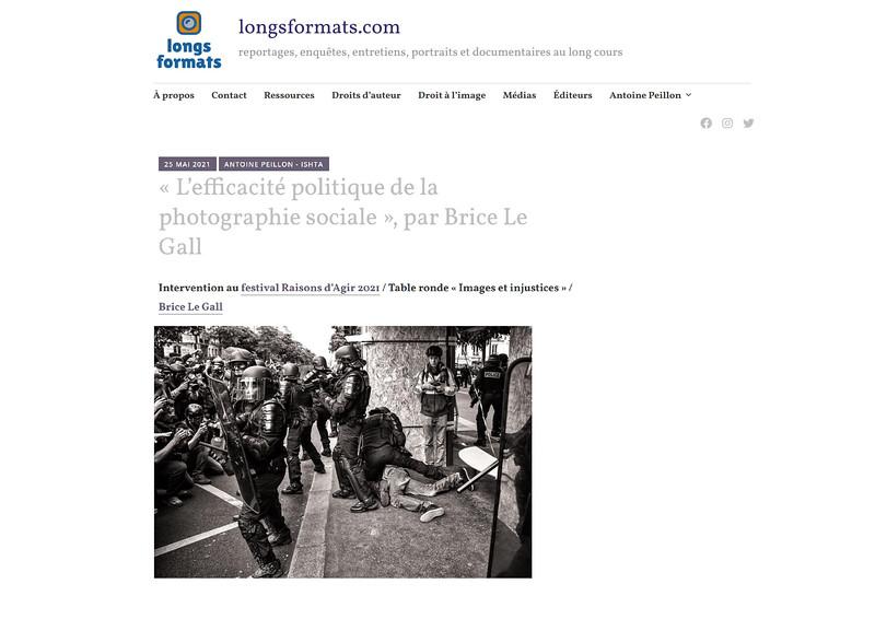 L'efficacité politique de la photographie sociale. Intervention au Festival Raisons d'Agir, mars 2021. https://longsformats.com/2021/05/25/brice-le-gall/