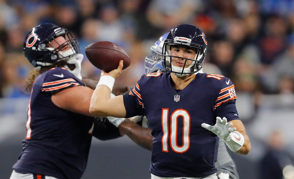 . Chicago Bears quarterback Mitchell Trubisky (10) passes during the second half of an NFL football game against the Detroit Lions, Saturday, Dec. 16, 2017, in Detroit. (AP Photo/Paul Sancya)