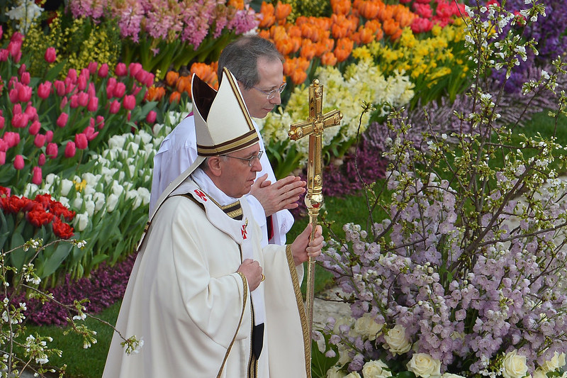 . Pope Francis leads the Easter celebrations on St Peter\'s square on March 31, 2013 at the Vatican. Easter Sunday celebrates the Christian belief in Jesus\'s death and resurrection and is marked around the world, often with a variety of not strictly religious local traditions like painted eggs or Easter Bunnies.   VINCENZO PINTO/AFP/Getty Images