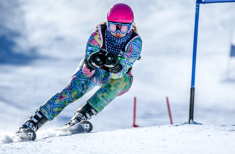 Edward Little's Brooke Lever navigates the third-to-last gate during her final run in the giant slalom event in the class A state alpine championships at Mt. Abram in Locke Mills.  Lever finished second in the event; her team also finished second.